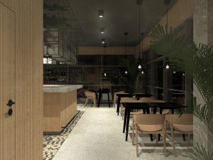 """Projekt aranżacji wnętrza kawiarni """"Słodkie Usta"""". Projekt koncepcyjny"""